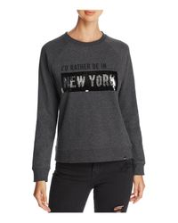 Marc New York Gray Performance Sequin Graphic Sweatshirt