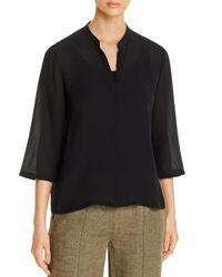Eileen Fisher Black Silk V - Neck Top