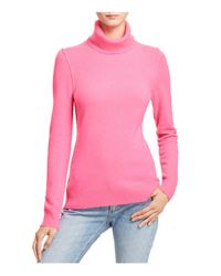 Aqua Pink Cashmere Turtleneck Cashmere Sweater