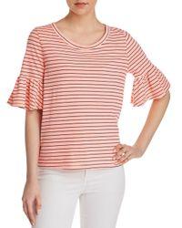 Splendid - Pink Ruffle-sleeve Striped Tee - Lyst