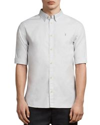 AllSaints Blue Redondo Half Sleeve Slim Fit Button-down Shirt for men