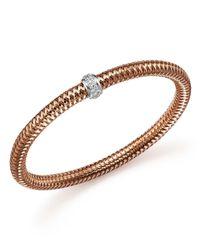 Roberto Coin | Metallic 18k Rose Gold Primavera Stretch Bracelet With Diamonds | Lyst