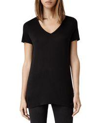 AllSaints - Black Malin V-neck Tee - Lyst