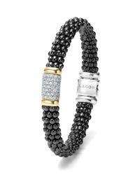 Lagos 'black Caviar' Diamond Pave Rope Bracelet
