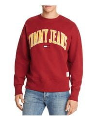 Tommy Hilfiger Red Tommy Jeans Collegiate Crewneck Sweatshirt for men