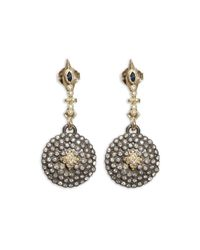 Armenta - Metallic 18k Yellow Gold And Blackened Sterling Silver Old World Sapphire And Diamond Shield Earrings - Lyst
