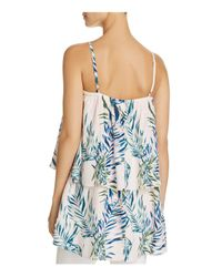 Olivaceous Blue Palm Print Layered Top