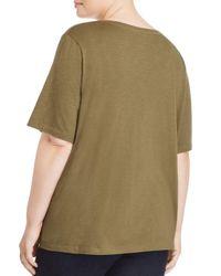 Eileen Fisher - Green Organic Cotton V-neck Tee - Lyst
