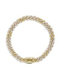 David Yurman Metallic Petite Pavé Curb Link Bracelet With Diamonds In Gold