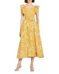 Nicholas Yellow Kelly Printed Apron Dress