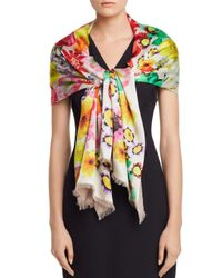 Echo White Summer Floral Oblong Scarf