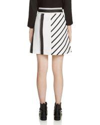 Maje Multicolor Jonson Striped Belted A-line Skirt