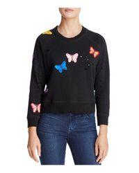 Aqua - Black Butterfly Distressed Sweatshirt - Lyst