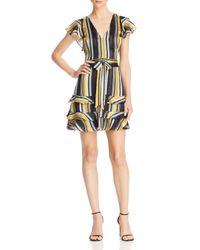 Parker Multicolor Elijah Striped Chiffon Flutter-sleeve Dress