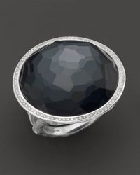 Ippolita Multicolor Stella Ring In Hematite Doublet With Diamonds In Sterling Silver
