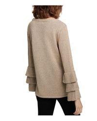 Calvin Klein - Metallic Ruffled-sleeve Sweater - Lyst