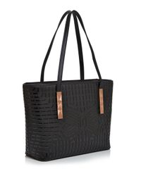 Ted Baker - Black Breeana Cut Out Bow Leather Shopper Tote - Lyst