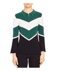 Sandro | Green Evita Chevron Sweater | Lyst