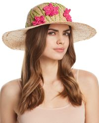 Aqua - Brown Straw Floppy Hat With Flowers - Lyst