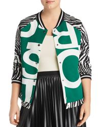 Marina Rinaldi Green Plus Size Graphic-print Scuba Jersey Baseball Jacket