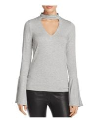 Project Social T Gray Choker V-neck Top