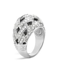 John Hardy Metallic Classic Chain Sterling Silver Diamond Pavé Dome Ring