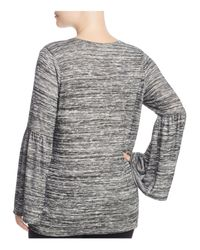 Vince Camuto Signature Gray Space Dye Bell Sleeve Top