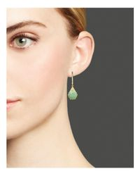 Meira T Green 14k Yellow Gold Amazonite Drop Earrings With Diamonds
