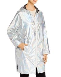 Yves Salomon Multicolor Hooded Holographic Raincoat