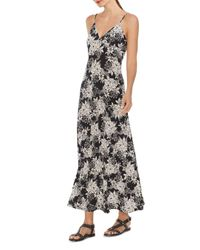 Vince Camuto Black Botanical Floral - Print Maxi Dress