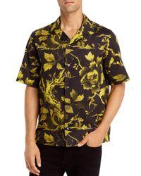 McQ Alexander McQueen Black Billy Short - Sleeve Floral Print Slim Fit Shirt for men