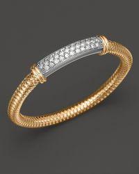 Roberto Coin | Metallic 18k Yellow Gold Primavera Mesh Bangle With White Gold And Diamond Bar, 1.35 Ct. T.w. | Lyst