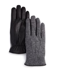 Bloomingdale's Gray Wool - And - Leather Tech Gloves for men