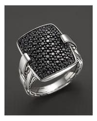 John Hardy | Metallic Classic Chain Silver Rectangular Ring With Black Sapphire | Lyst