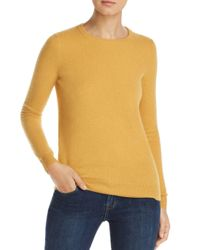 C By Bloomingdale's Yellow Crewneck Cashmere Sweater