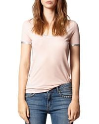Zadig & Voltaire Pink Tino Foil Trim Tee