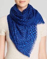 Aqua - Blue Geometric Houndstooth Scarf - Lyst