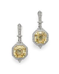 Judith Ripka | Metallic Estate Ascher Cut Stone Earrings With Canary Crystal | Lyst