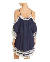Surf Gypsy Blue Cold-shoulder Tunic Swim Cover-up