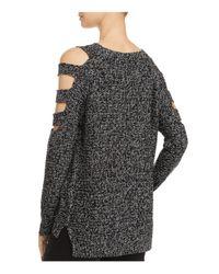 Aqua - Black Slit Cold-shoulder Sweater - Lyst
