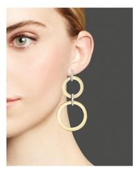 Roberto Coin - Metallic 18k Yellow And White Gold Diamond Round Drop Earrings - Lyst