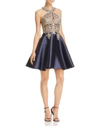 Betsy & Adam - Blue Embroidered Fit-and-flare Dress - Lyst