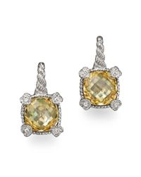 Judith Ripka | Metallic Small Cushion Stone Earrings With 4 Hearts In Canary Crystal | Lyst