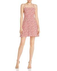 Aqua Red Ditsy Floral Mini Dress