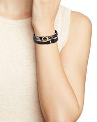 Alexis Bittar - Black Elements Pyrite, Crystal & Leather Snake Bracelet/choker - Lyst