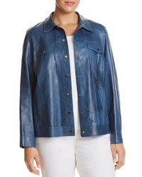 Lafayette 148 New York - Blue Destiny Leather Jacket - Lyst