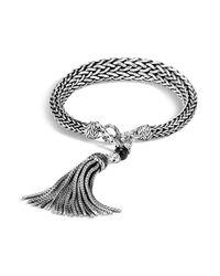 John Hardy - Metallic Sterling Silver Classic Chain Graduated Tassel Bracelet With Black Onyx And Black Sapphire - Lyst