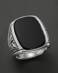 Scott Kay Metallic Men's Sterling Silver Large Engraved Ring With Onyx for men