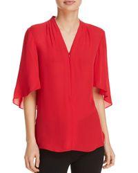 Elie Tahari Red Anella Silk Top