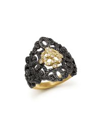 Armenta - Metallic 18k Yellow Gold And Blackened Sterling Silver Old World Filigree Diamond And Black Sapphire Ring - Lyst